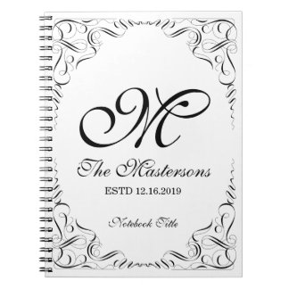 Create Your Own Elegant Graceful Wedding Monogram Notebook