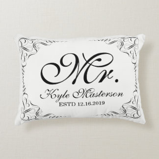 Create Your Own Elegant Mr Mrs Wedding Monogram Decorative Pillow