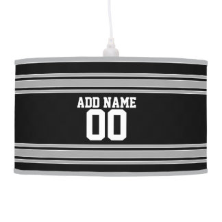 Create Your Own Football Jersey - Black Silver Pendant Lamp