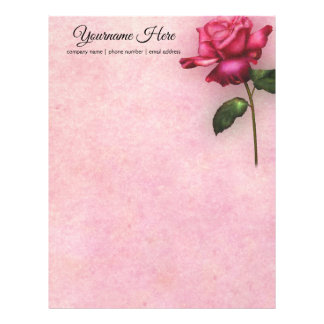 Create Your Own Fuchsia Rose Letterhead