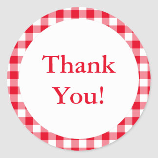 Create Your Own Gingham Thank You Classic Round Sticker