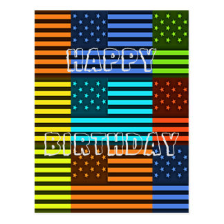 Create Your Own Happy Birthday Funny USA Flag Postcard