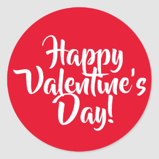 Create Your Own Happy Valentine's Day Red Classic Round Sticker