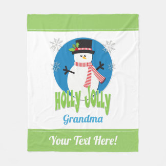 Create Your Own Holly Jolly Snowman Christmas Fleece Blanket