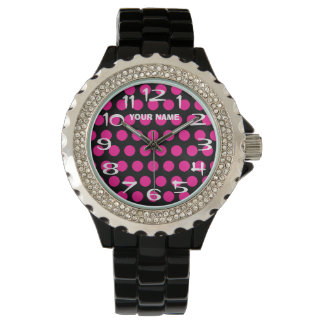 Create Your Own Hot Pink Polka Dot Personalized Watch