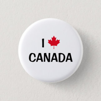 Create Your Own I Love Canada Maple Leaf 1 Inch Round Button
