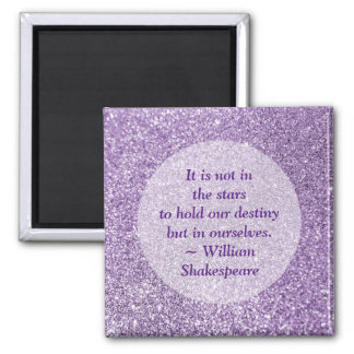 Create Your Own Inspirational Quote Purple Glitter Square Magnet