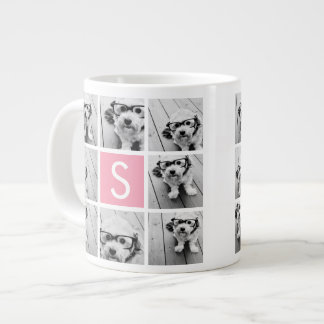 Create Your Own Instagram Collage Custom Monogram Large Coffee Mug