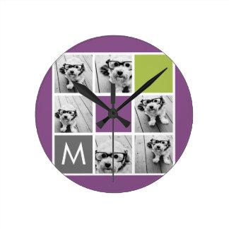 Create Your Own Instagram Collage Custom Monogram Round Clock