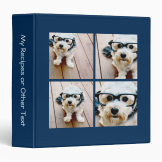 Create Your Own Instagram Collage Navy 4 Pictures 3 Ring Binders