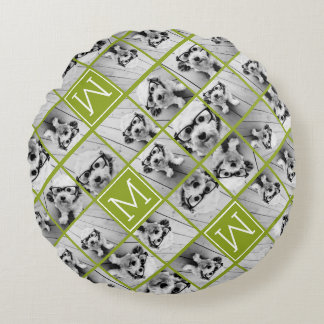 Create Your Own Instagram Photo Collage Lime Round Pillow