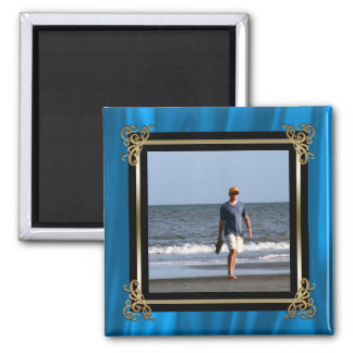 Create Your Own Instagram Photo Elegant Blue Satin Magnet