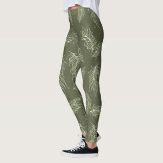 Create Your Own Khaki Green Feathers Leggings