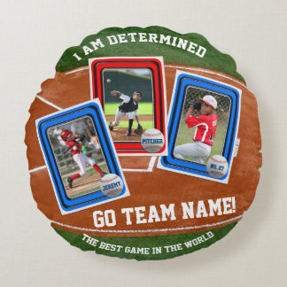 Create Your Own Kid's Baseball Card Sports Collage Round Pillow