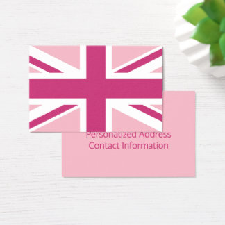Create Your Own Magenta and White Union Jack Business Card