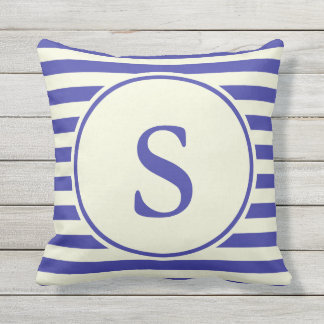 Create Your Own Monogram Blue and Beige Pillow