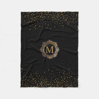 Create Your Own Monogram | Elegant Black Gold Fleece Blanket