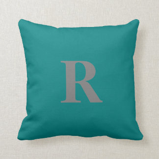 Create Your Own Monogram Gray and Teal Pillow
