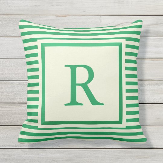 Create Your Own Monogram Green and Beige Pillow