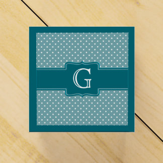 Create Your Own | Monogrammed Teal Polka Dots Party Favor Box
