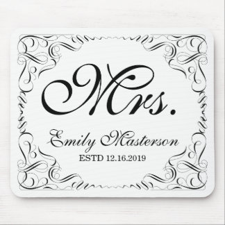 Create Your Own Mr Mrs His Hers Wedding Monogram Mouse Pad