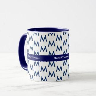 create your own mug monogram blue