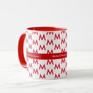 create your own mug monogram red