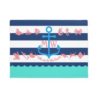 Create Your Own Nautical Summer Fun Anchor Stripes Doormat