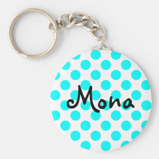 Create Your Own Personalized Aqua Polka Dot Basic Round Button Keychain