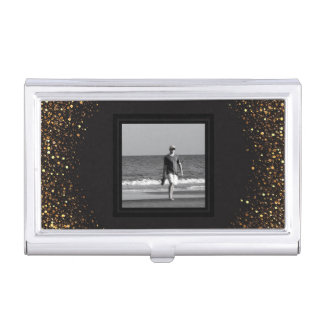 Create Your Own Photo | Black Chic Gold Glitter Business Card Holder