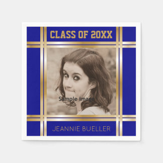 Create Your Own Photo Blue Gold Graduation Party Disposable Napkin