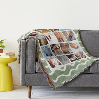 Create Your Own Photo Collage Green Wave Pattern Throw Blanket