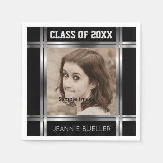Create Your Own Photo Graduation | Black Silver Disposable Napkins