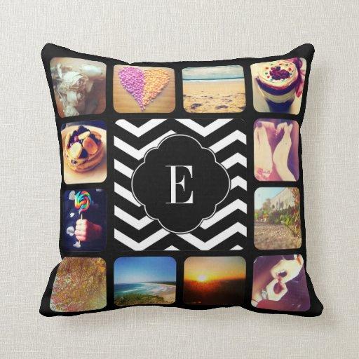 Create Your Own Photo Monogram Throw Pillows