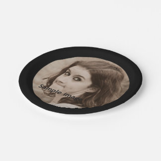 Create Your Own Photo | Simple Modern Black Party 7 Inch Paper Plate