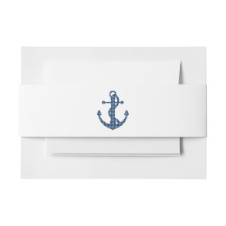 Create your own | Plaid tartan blue anchor Invitation Belly Band