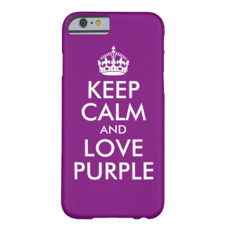 Create Your Own Purple Keep Calm and Carry On Barely There iPhone 6 Case