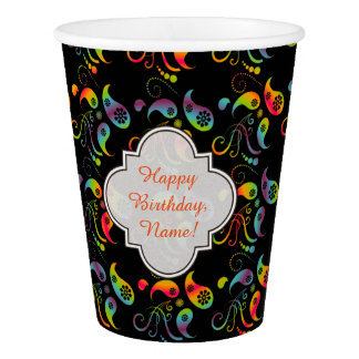 Create Your Own Rainbow Paisley Paper Cup