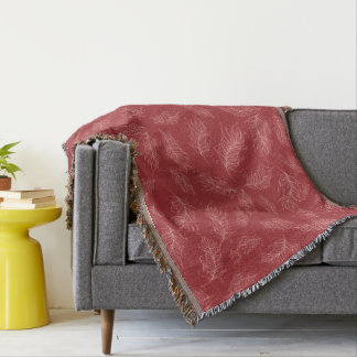 Create Your Own Red Feathers Throw Blanket