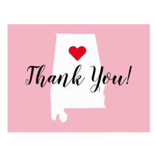 Create Your Own Red Heart White Alabama Thank You Postcard
