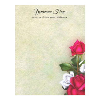 Create Your Own Red & White Roses Letterhead