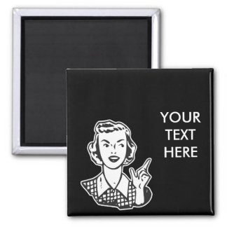 CREATE YOUR OWN RETRO MAD HOUSEWIFE GIFTS SQUARE MAGNET