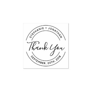 Create Your Own Round Wedding Thank You Rubber Stamp
