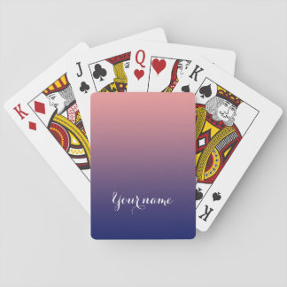 Create your own | salmon pink to blue gradient playing cards