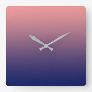 Create your own | salmon pink to blue gradient square wall clock