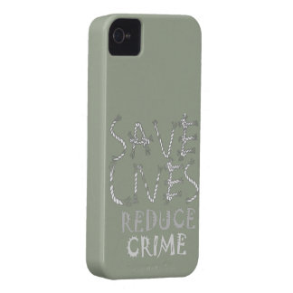 Create your own Save Lives Reduce Crime iPhone 4 Case-Mate Case