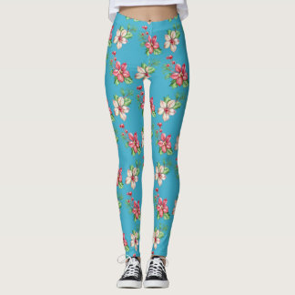 Create Your Own Shabby Chic Flowers Blue Leggings
