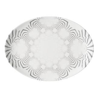 Create Your Own Soft Black & White simple pattern Porcelain Serving Platter