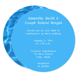 Create Your Own Swimming Pool Circle Photo Wedding Card