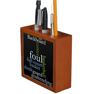Create Your Own Text Foul Basketball Desk Organizers